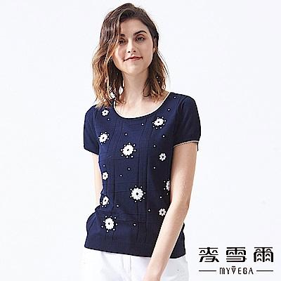 【麥雪爾】日系刺繡花朵蕾絲針織衫