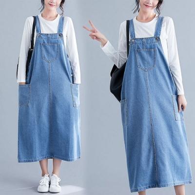 時尚淺藍吊帶背心雙口袋牛仔裙L-2XL-Keer