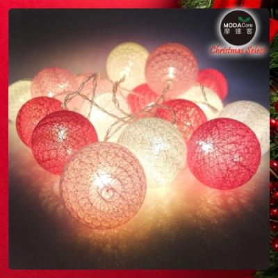 摩達客 20燈LED絲線網球燈球殼燈-少女粉色系(USB & 電池二用款)