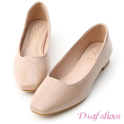 D+AF 輕透春氛.素面小方頭漆皮低跟鞋*粉