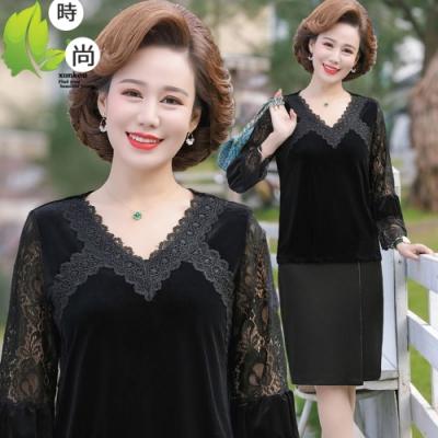 法式優雅半透蕾絲衣袖氣質上衣XL-6XL-理子時尚