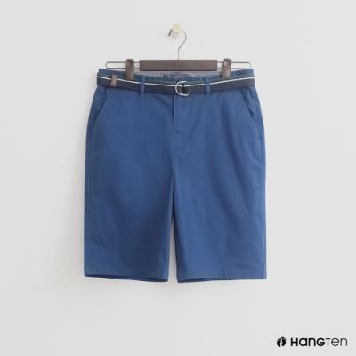 Hang Ten - 男裝 - 帆布腰帶造型西裝短褲-藍