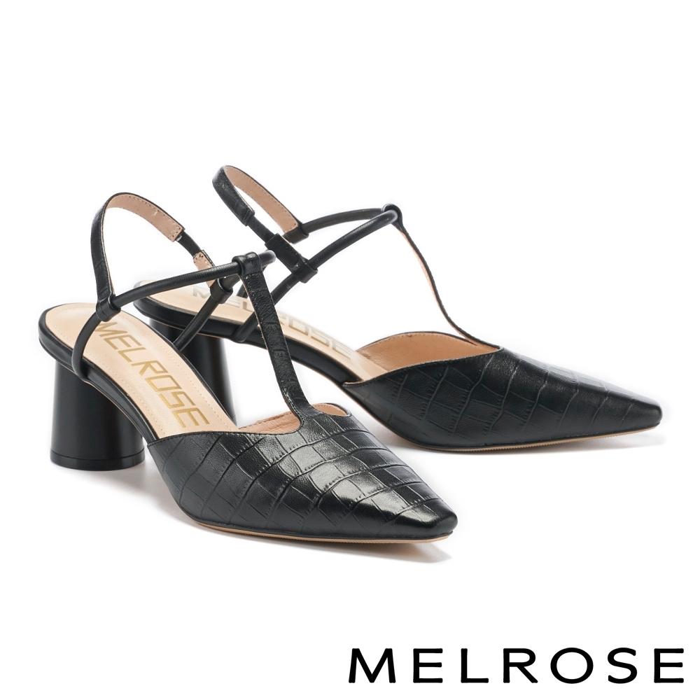 高跟鞋 MELROSE 簡約時髦壓紋T字繫帶尖頭高跟鞋-黑