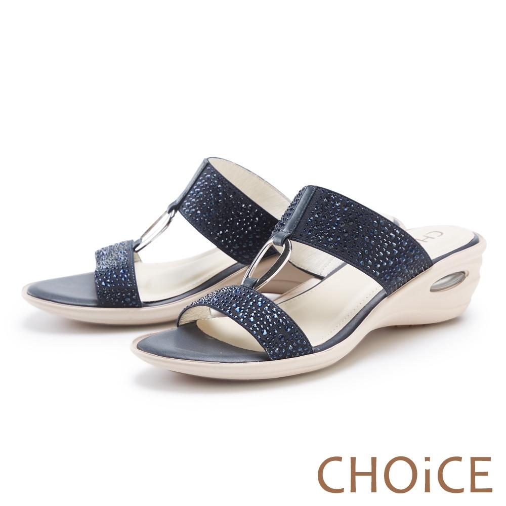 CHOiCE 真皮燙鑽金屬環氣墊 女 拖鞋 藍色
