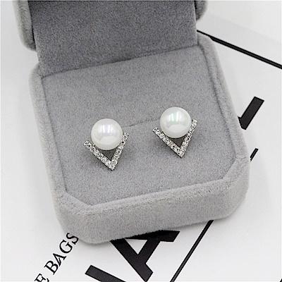 梨花HaNA 韓國925銀V型水鑽美人珍珠點飾耳環
