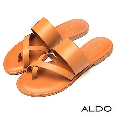 ALDO 原色真皮佐寬版交叉帶涼拖鞋~個性焦糖