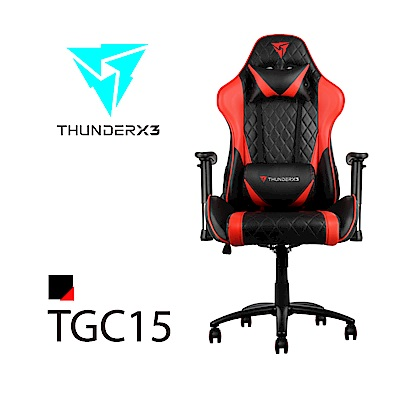 【ThunderX3】TGC15 競速超跑電競賽車椅(黑紅色)