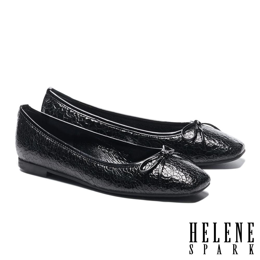 平底鞋 HELENE SPARK 百搭舒適蝴蝶結繫帶全真皮方頭平底鞋-黑