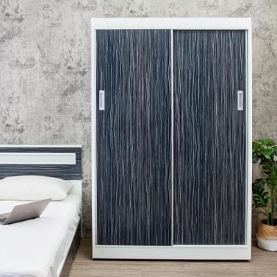 Birdie南亞塑鋼-4.2尺拉門/推門塑鋼衣櫃(鐵刀木色)-126x61x200cm