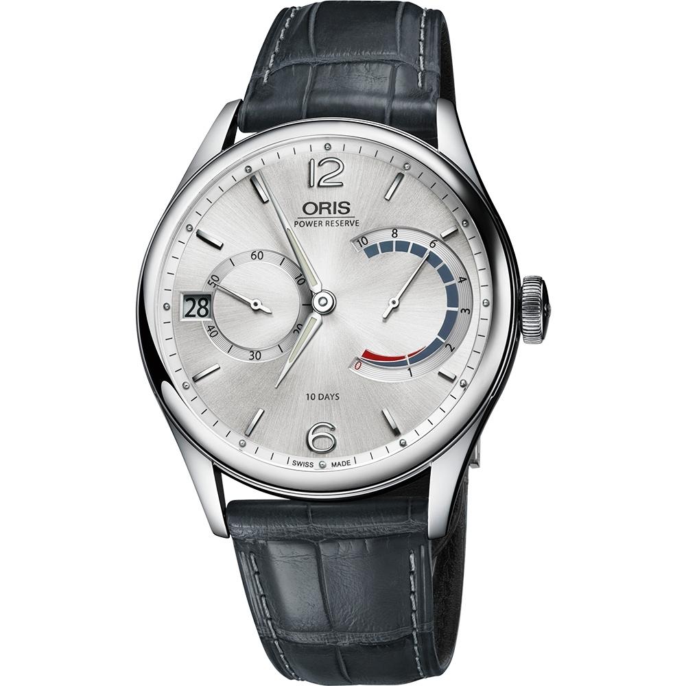 Oris Calibre 111 十日動力儲存手動上鏈機械腕錶-銀x灰/43mm