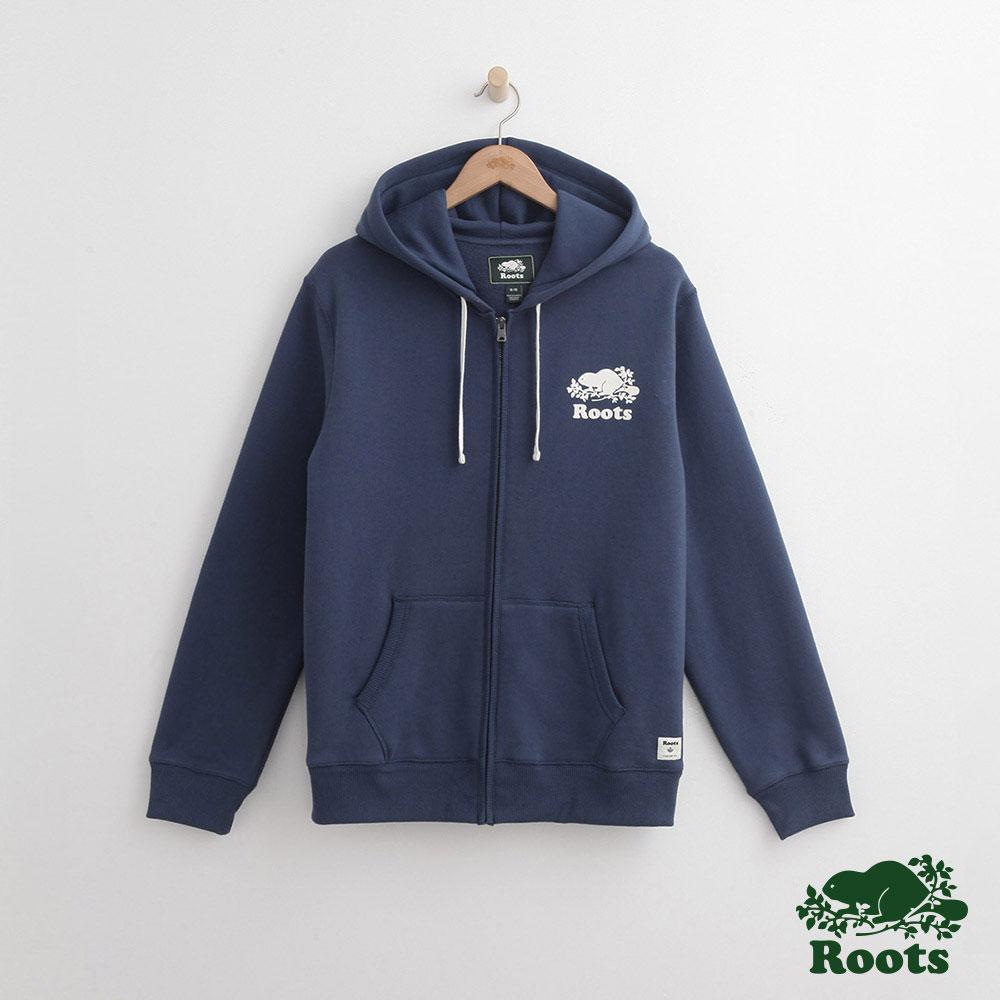 Roots -男裝-原創連帽外套- 藍