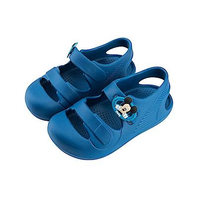 迪士尼 米奇 經典造型 魔鬼氈防水涼鞋-藍