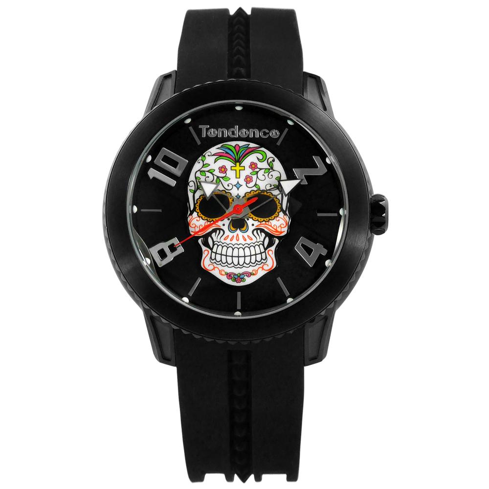 Tendence 天勢錶 墨西哥骷髏弧型礦石強化玻璃防水矽膠手錶-黑色/47mm