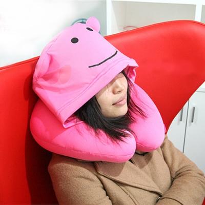 E.City_可愛熊連帽造型U型頸枕旅行枕