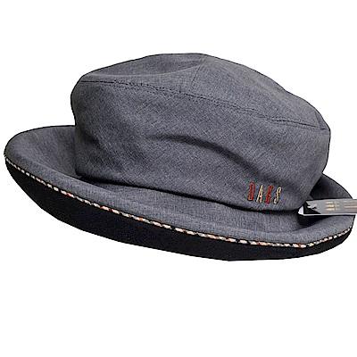 DAKS 日本製抗UV科技纖維格紋滾邊刺繡字母LOGO造型帽(黑灰)
