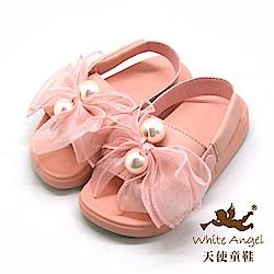天使童鞋 典雅大珍珠蝴蝶結涼拖鞋(中童)D947-粉
