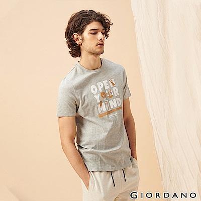 GIORDANO 男裝LEARN N PLAY系列印花短袖T恤-12 中花灰