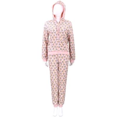 MOSCHINO Underwear 滿版泰迪熊粉色連帽運動休閒套裝