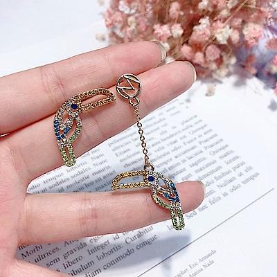 梨花HaNA 韓國925銀彩鑽可愛大嘴鳥逗趣耳環