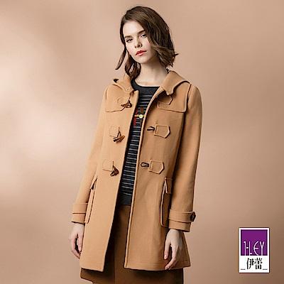 ILEY伊蕾 牛角釦造型羊毛連帽大衣(可)