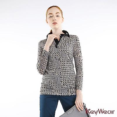 KeyWear奇威名品     時尚幾何印花舒適長袖上衣-綜合色