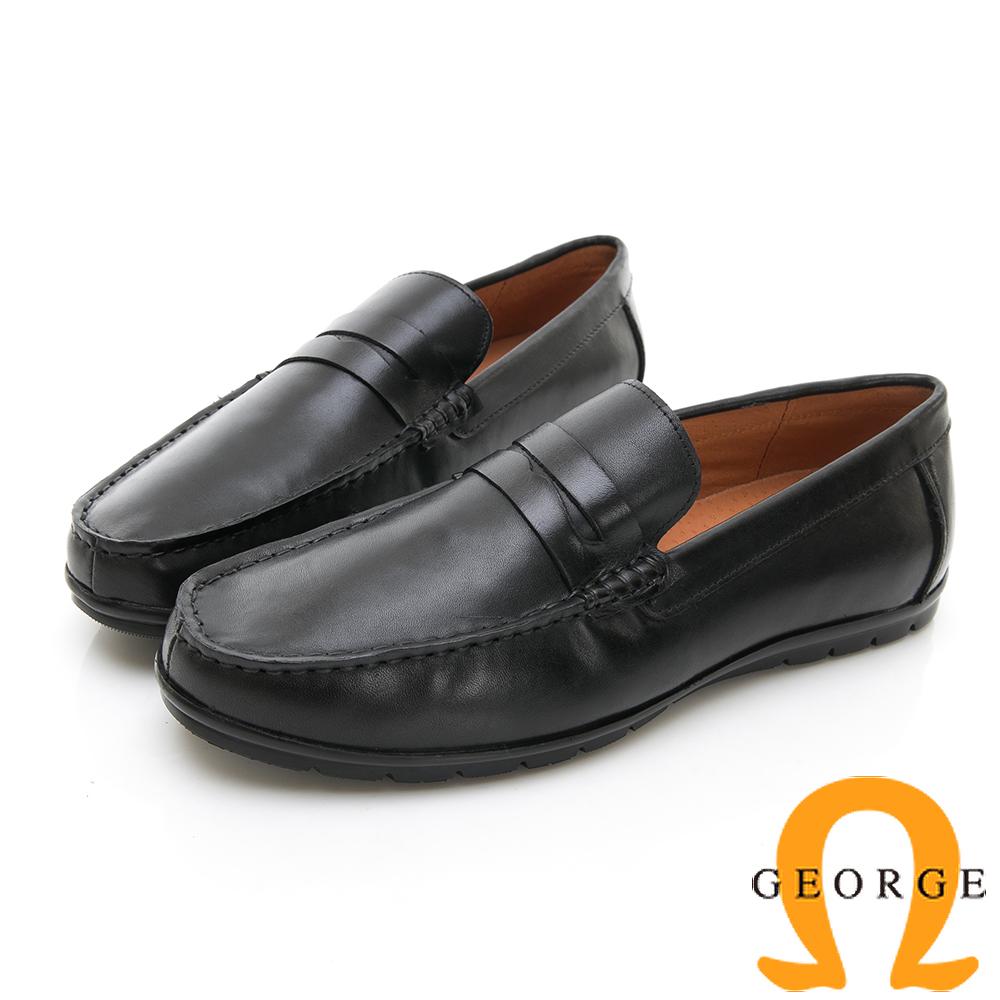 【GEORGE 喬治皮鞋】都會系列 直套式大底休閒紳士皮鞋-黑色 @ Y!購物