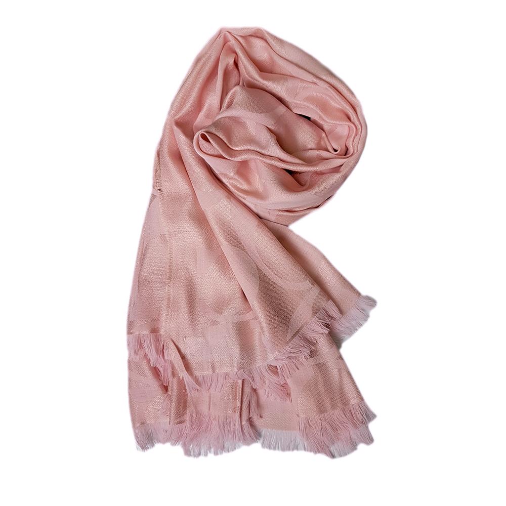 COACH 經典滿版LOGO羊毛混絲針織流蘇披肩圍巾-粉色COACH