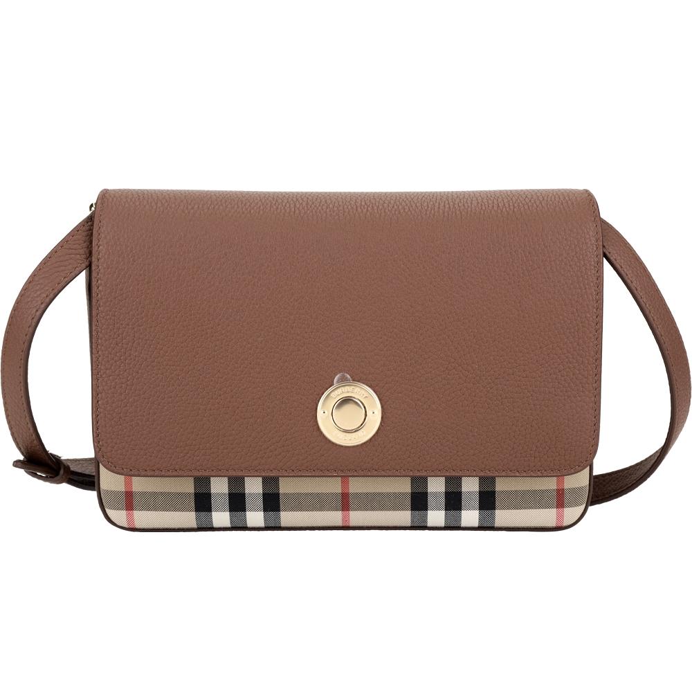 BURBERRY Vintage 小款 荔紋牛皮拼接格紋斜背包(棕褐色)