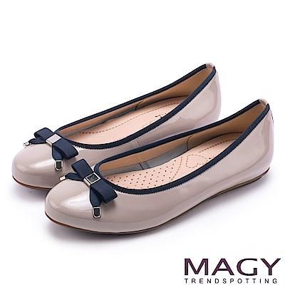 MAGY 清新女孩 氣質款蝴蝶結牛皮娃娃鞋-灰色
