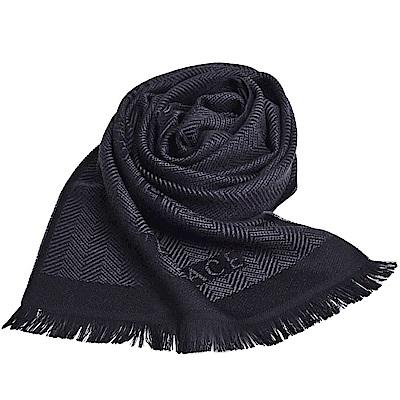 VERSACE 義大利製梅杜莎LOGO人字格紋圖騰品牌字母羊毛披肩圍巾(黑/深灰)