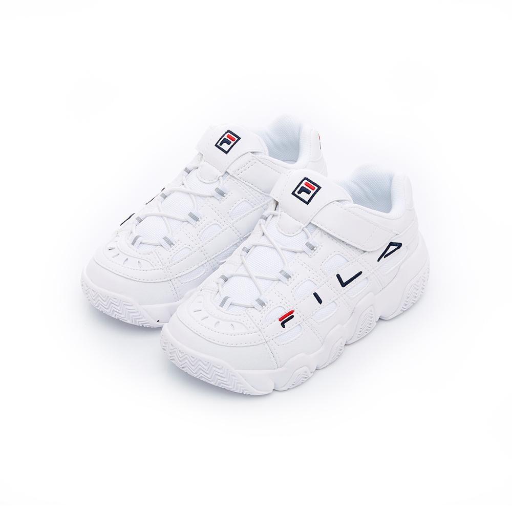 FILA KIDS BARRICADE復古運動鞋-白 3-B464T-111