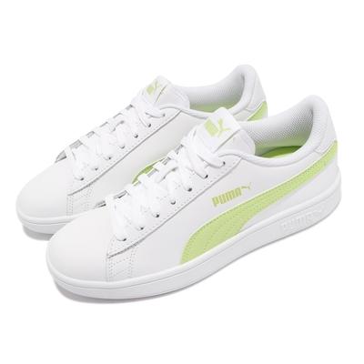 Puma 休閒鞋 Smash v2 L 復古 女鞋 皮革鞋面 基本款 百搭 穿搭推薦 白 綠 36521526