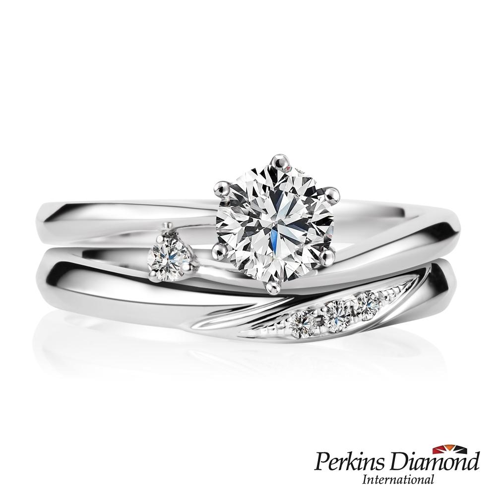 PERKINS 伯金仕-GIA Princess系列 D/VS1 0.30克拉結婚鑽石套戒