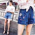 顯瘦繡花牛仔短褲-共2色(M-XL可選)     NUMI  森