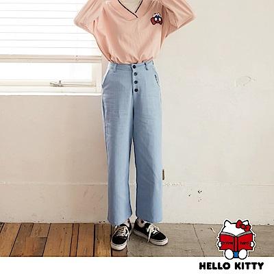 KITTY印花排釦設計直筒寬褲-OB嚴選