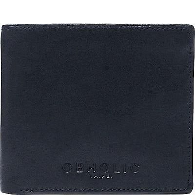 OBHOLIC 深藍色牛皮男士錢包皮夾短夾(相框款)