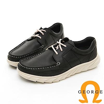【GEORGE 喬治皮鞋】休閒系列 素面舒適休閒皮鞋-黑色