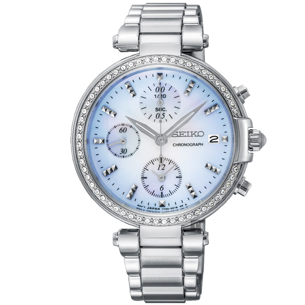 SEIKO精工 CS系列魔法晶鑽計時女錶(SNDV39P1)-藍x銀/36mm