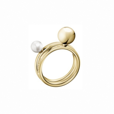 CALVIN KLEIN Bubbly 系列珍愛香檳金雙色珠戒指-8