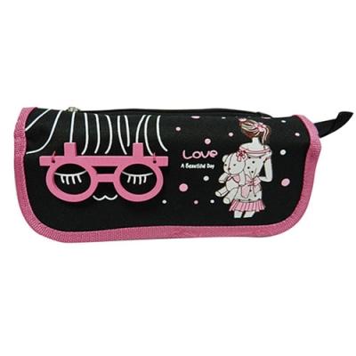 金德恩 眼鏡萌娃布包編織造型筆袋/鉛筆盒/收納包/三款可選