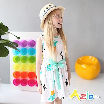 Azio Kids 童裝-洋裝 仙人掌盆栽配色綁帶無袖洋裝(綠)