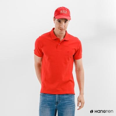 Hang Ten-男裝-腳丫短袖POLO衫-紅色