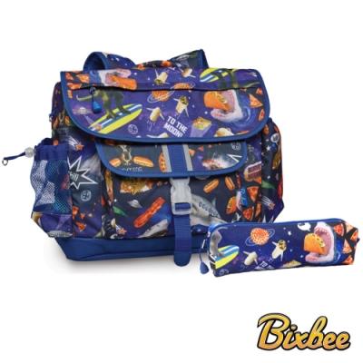 美國Bixbee - 彩印系列太空漫遊中童輕量舒壓背書包筆袋超值組