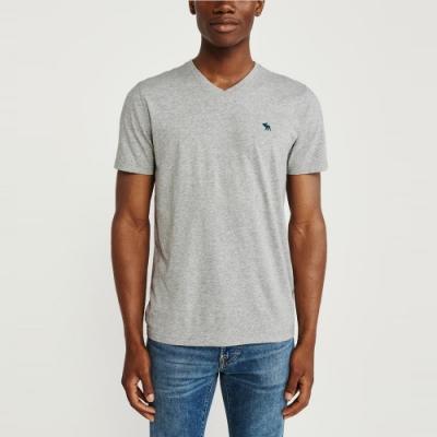 麋鹿 AF A&F 經典V領電繡麋鹿素面短袖T恤(BONL)-灰色