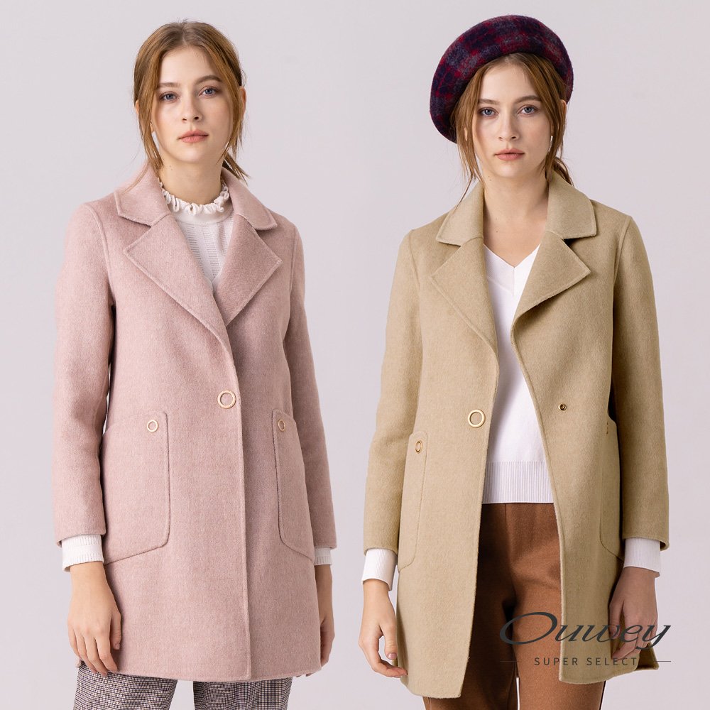 OUWEY歐薇 100%雙面羊毛大衣外套(米/粉) @ Y!購物