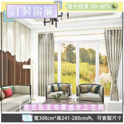 【宜欣居傢飾】威尼斯水岸-印花遮光訂製窗簾(咖)W300*H241-280cm以內*2片/台灣製