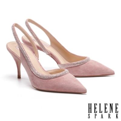 高跟鞋 HELENE SPARK 璀璨晶鑽後繫帶全真皮尖頭美型高跟鞋-粉