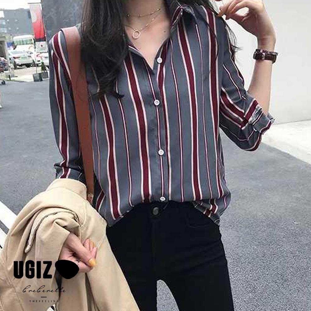 UGIZ-修身優雅款立領條紋排扣造型上衣-灰色(M-2XL)