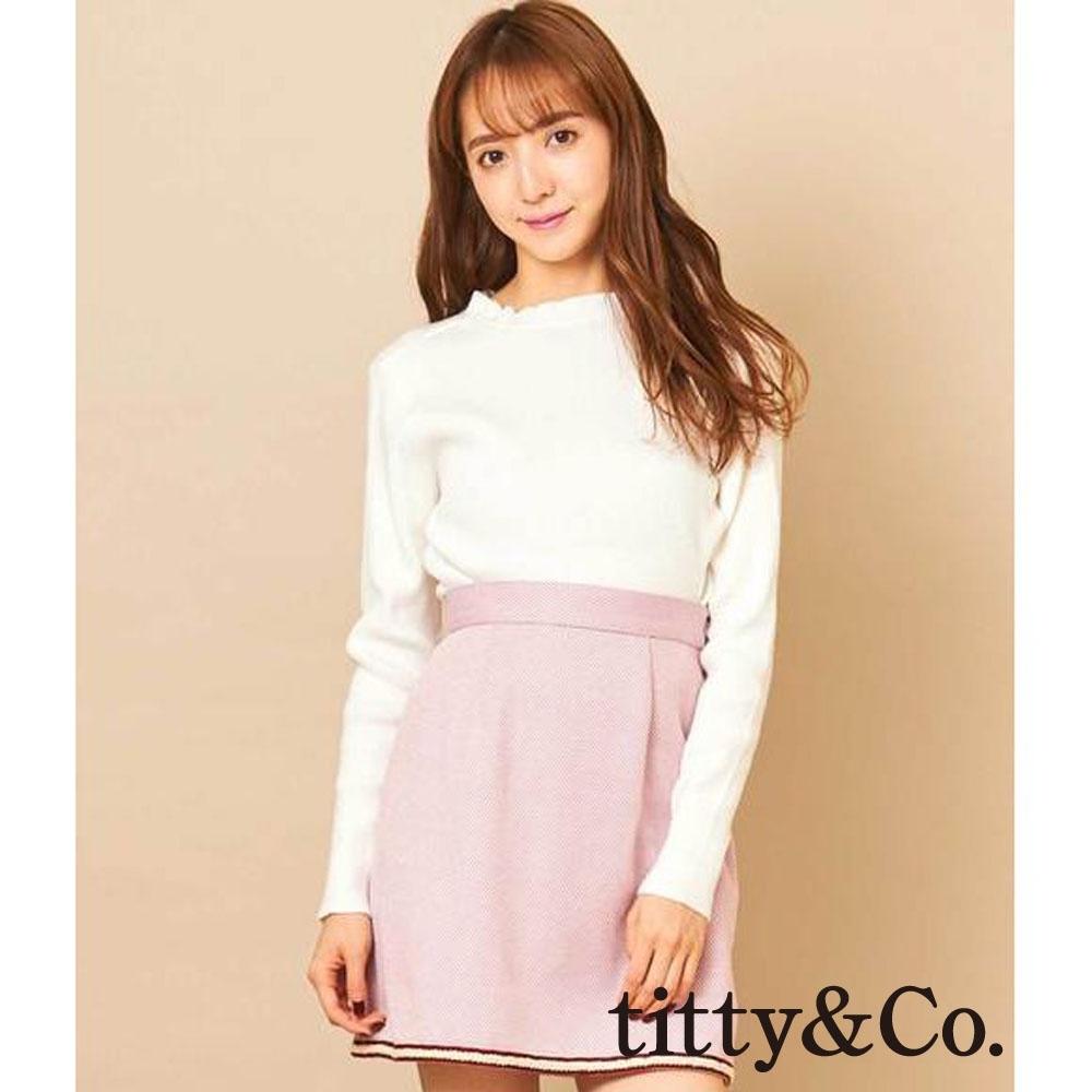 titty&Co.馬卡龍色系編織滾邊短裙(3色)