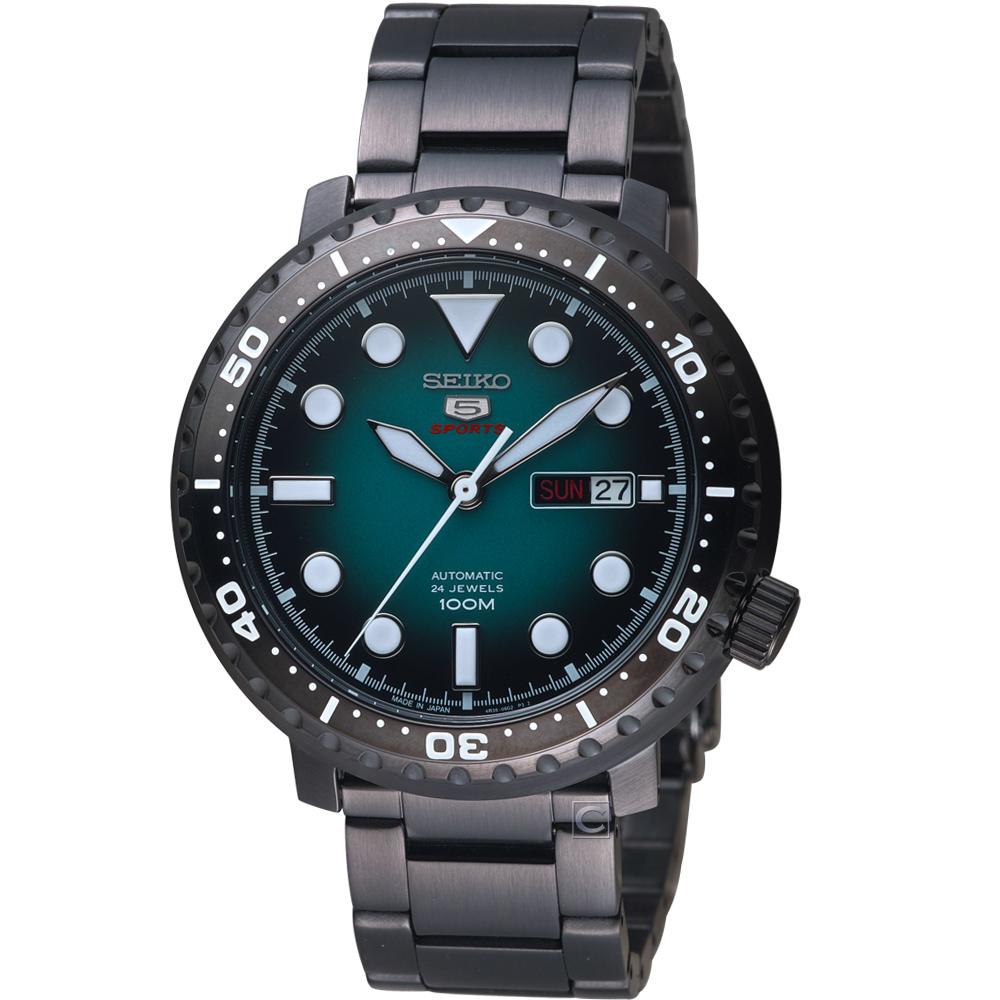 SEIKO精工5號復刻時尚機械腕錶(SRPC65J1)-藍x黑